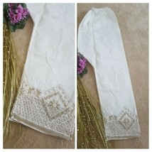 Pakistani / Indian Capri Trousers  Net Lace  Embroidery white trousers  - $19.70