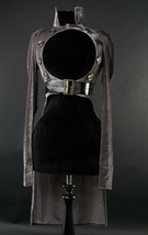 Grey Velvet Openbust Gothic Victorian Steampunk Officer Crop Jacket Tail... - $96.41