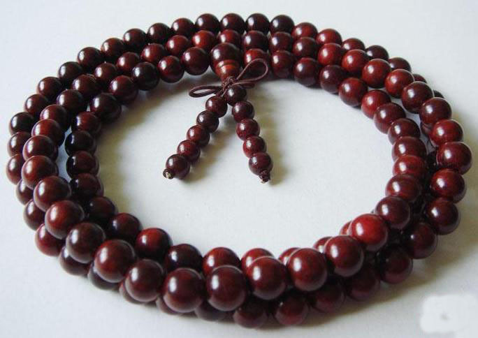 Tibetan 108 Natural red sandalwood Meditation Prayer mala