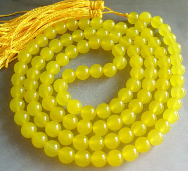 Tibetan 108 Natural Yellow jade Meditation Prayer Beads Mala