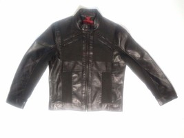 Alfani Womens Fitted Jacket faux leather Fabric Stretch Black Zip Lined ... - $34.47