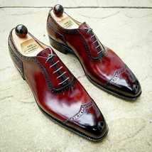 Shiny Burnished Wing Tip Maroon Tone Superior Leather Lace Up Men Oxford Shoes - $139.99+