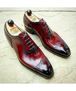 Shiny Burnished Wing Tip Maroon Tone Superior Leather Lace Up Men Oxford... - $139.99+