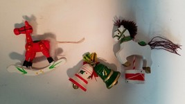 Vintage Carousel Rocking Horse Bells Christmas Ornaments Lot of 3 Wooden - $9.98
