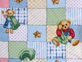 Blue Jean Teddy By Daisy Kingdom-Springs Ind.-BTY-Squares-Patchwork-Baby-OOP - $8.95