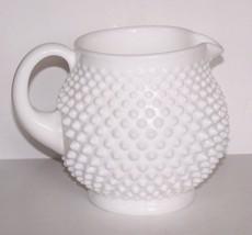 STUNNING VINTAGE FENTON ART GLASS MILK GLASS HOBNAIL SQUAT JUG/PITCHER - $39.59