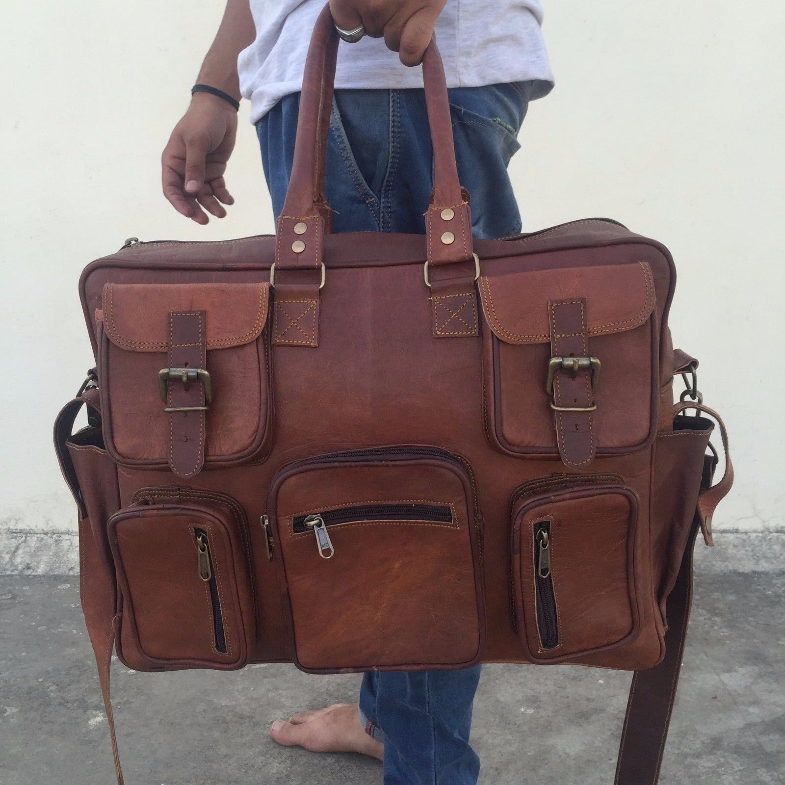 26fa6dd7ae 57. 57. Previous. Bag Leather Goat Gym Duffel Men Travel Luggage Genuine  Brown New S Vintage New