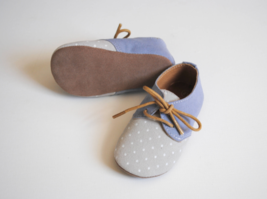 Fox & Molly Baby Leather Oxfords Shoes Blue Polka Dot Laces Blucher 1 2 3 4 - $25.00
