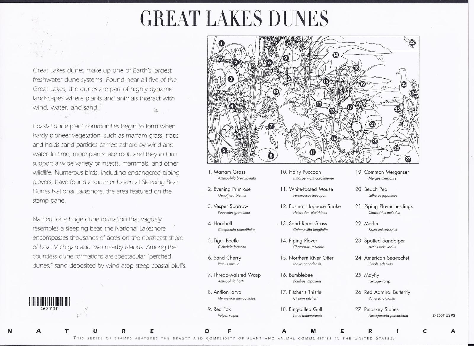GREAT LAKES DUNES - 10 stamps x .42 cts (USPS) MINT STAMPSHEET