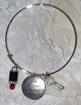 "Avon ""She Believed She Could So She Did"" Bracelet - 8"" Circumference Silvertone - $9.49"