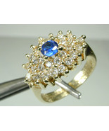 1369 Ring 14K Solid Yellow Gold & Clear White & Blue Center Stones Size ... - $150.00