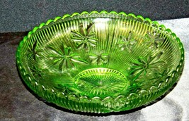 Green Candy Floral Dish Depression Glass AA19-CD0026 Vintage