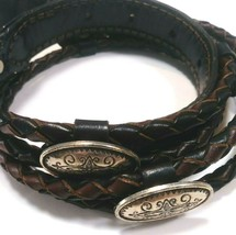 Belt Women's Leather Split Rope Lasso Silver Tone Medallions Size SM/M  ... - $4.95