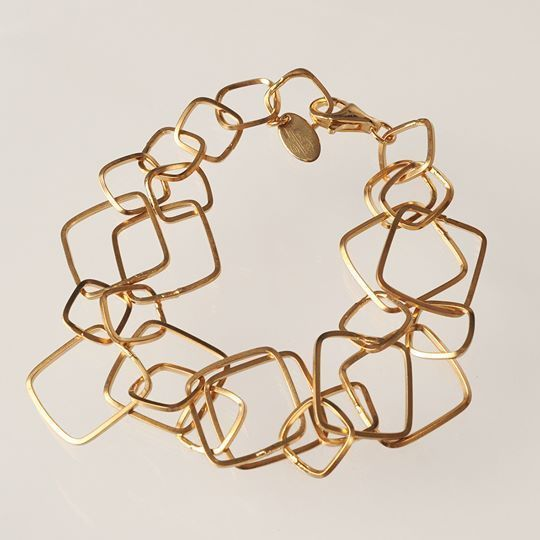 SILVER 925 BRACELET LAMINA GOLD RHOMBUSES WORKED BY MARY JANE IELPO