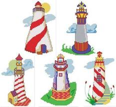 Whimisical Lighthouses cross stitch chart Cross Stitch Wonders - $9.00