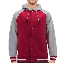 Men's Fleece Varsity Sweatshirt Letterman Sports Raglan Button Up Hoodie Jacket image 5