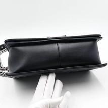 AUTHENTIC CHANEL BLACK Limited Edition Embroidery Leaf Medium Boy Flap Bag image 7