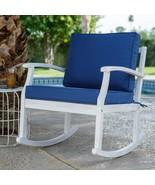 Whitewash White Coastal Outdoor Wood Rocking Chair With Nautical Blue Cu... - $299.46