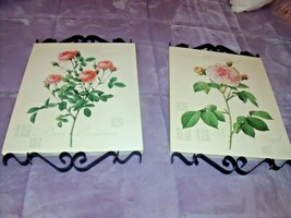 Rare Home Interiors Set Black Iron Scroll Pink Rose Wall Pictures Plaque Canvas - $59.35