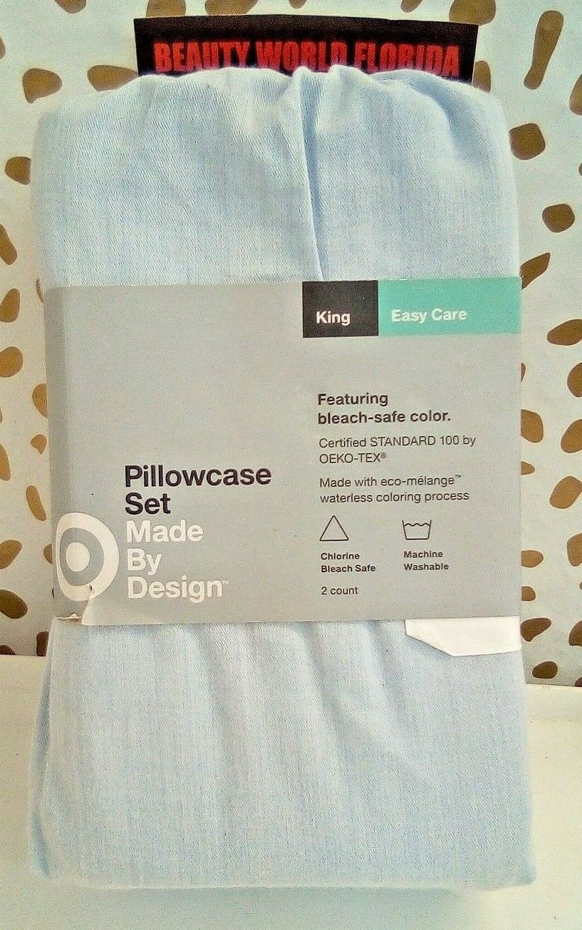 Made By Design Solid Easy Care Pillowcase Set (King) Light Blue - NEW! STORE