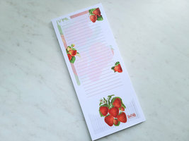 Strawberry Notepad with Magnet, 50 Sheets, Vintage Inspired Strawberries Pad image 3