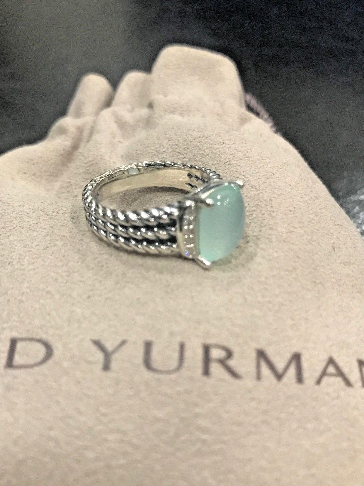 DAVID YURMAN RING PETITE WHEATON AQUA CHALCEDONY AND DIAMOND SIZE - 6