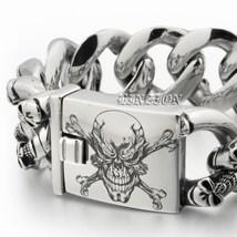 Men Huge 316L Stainless Steel Deep Laser Engraved Pirate Skulls Charm Bracelet image 2