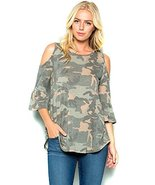 Modern Kiwi Now You See Me Camouflage 3/4 Sleeve Cold Shoulder Tunic Top... - $29.00
