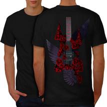 Bass Guitar Roses Music Shirt Music Style Men T-shirt Back - $12.99+