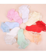 Girls Lace Frilly Christening Socks in White Pink Blue Yellow Orange Gre... - $3.74+