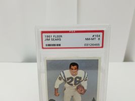 1961 Fleer Football Jim Sears #164 PSA 8 NM-MT 8 San Diego Chargers Card image 3