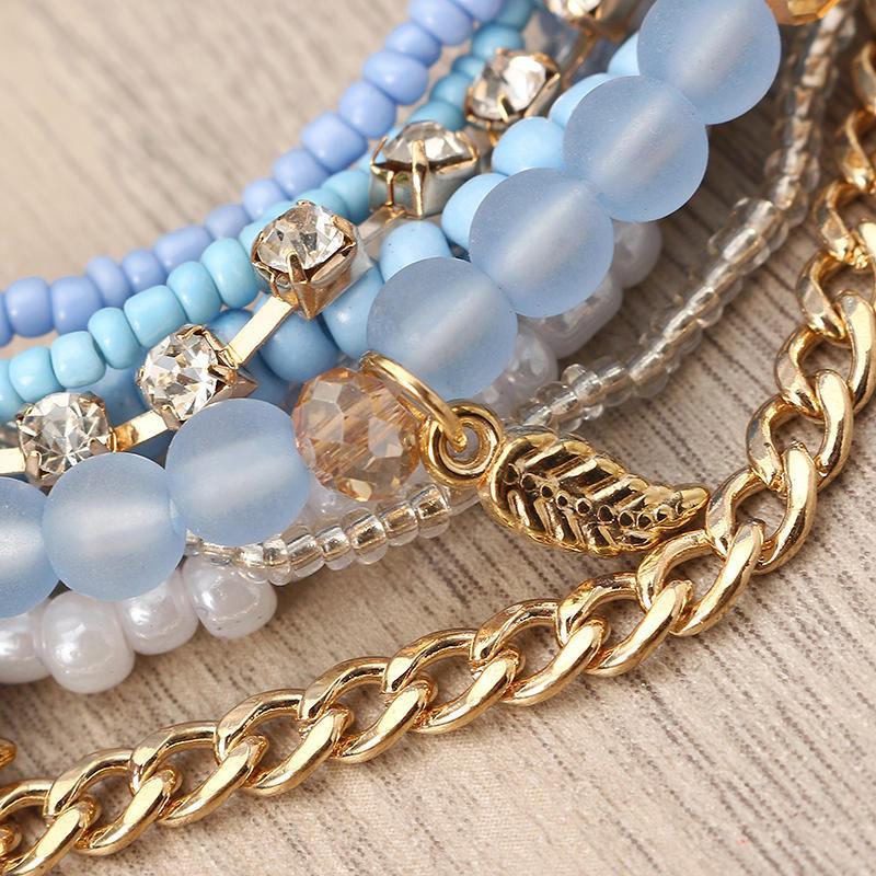 Bohemian Bracelet Leaves Chain Multilayer Beads Bracelets for Women Gaga