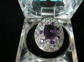 AMETHYST, TOPAZ and PERIDOT Cocktail RING in Sterling Silver - Size 8  - $80.00