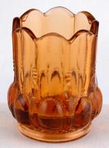 Degenhart Amber Glass Toothpick Holder Beaded w Ovals at the Base - $6.50