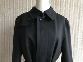 100% AUTHENTIC BURBERRY LONDON CLASSIC BLACK WOOL TRENCH COAT JAPAN  image 4