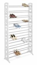 NEW 50 Pair White Plastic Metal Closet Shoe Organizer Storage Rack Boots... - $54.35