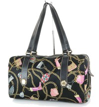 Authentic GUCCI Black Satin Chain Pattern Boston Hand Bag #33660 - $279.00