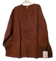Brown Scrub Jacket 5XL Zip Front V Neck Gold Coast Ladies Loft Uniforms New - $21.31