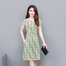 Women Summer Printing Large Size Slim Fit Mid-length Dress Round Collar ... - $19.35