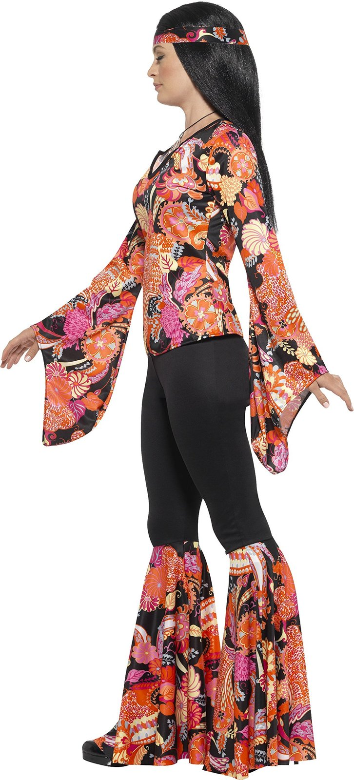 Smiffys Women's 1960's Willow The Hippie Costume, Top, pants, Headscarf and