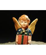 Gift Giving Fairy Elf Wish Box Antique Designer Porcelain Statuette Art ... - $150.00