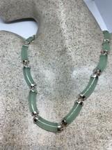 Vintage Green Jade Necklace 925 Sterling Silver Deco - $146.64