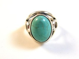 Vintage Southwest Sterling Silver & Turquoise Ring Size 9 1/4 - €49,78 EUR