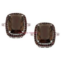 925 Sterling Silver Natural Smoky Topaz Gemstones Men's Cufflinks Jewelry - $99.00