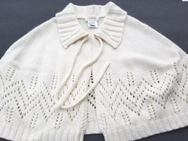 Talbots Beige Cream Cape Sweater Ivory Shrug Jacket Womens Poncho Capelet OSFA - $48.45