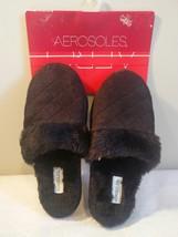 Aerosoles Womens 5-6 Black indoor/outdoor Sole Slippers, Faux Fur - £9.90 GBP