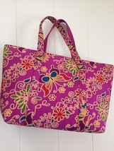 Purse with Zipper Cotton Multi-Color Floral and Butterfly Print, Large 1... - $35.15