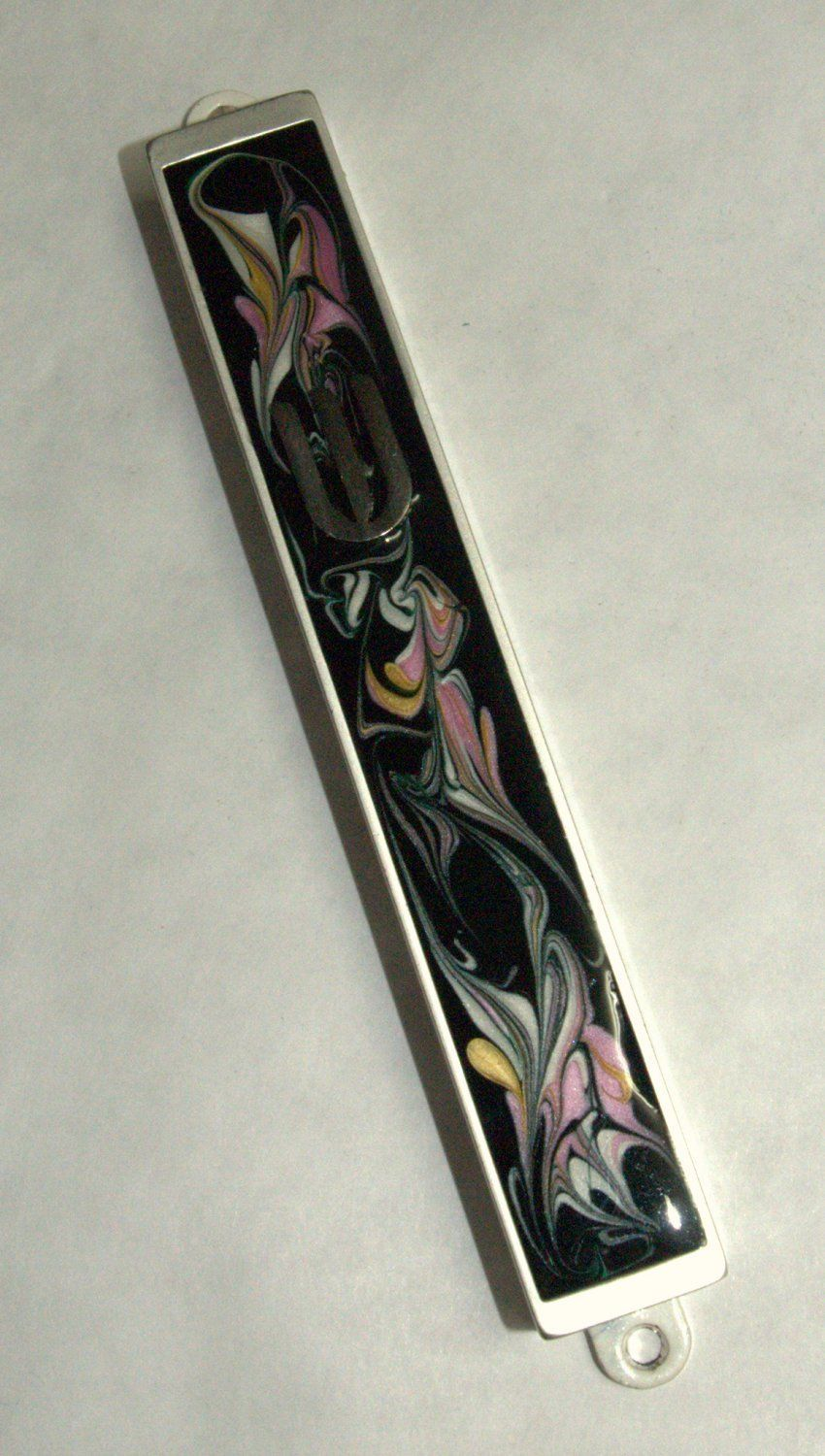 Judaica Mezuzah Case Black Pink Decorative Retro Stripe Silver SHIN 10 cm