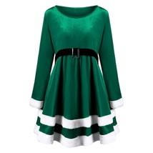 Christmas Plus Size Velvet Long Sleeve Dress(GREEN 3XL) - $24.10