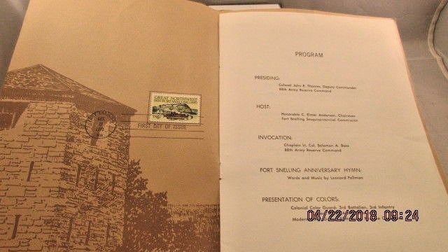 #1409 First Day Ceremony Program 6c Fort Snelling Sesquicentennial Stamp